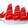 Stock Vector: Isolated Ship with red sails (caravel)