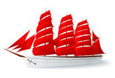 Isolated Ship with red sails (caravel) — Stock Vector