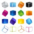 Stock Vector: Isolated colorful 3d shape cubes