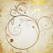 Gold vector background with circular floral pattern (banner) - Stock Vector