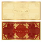 Golden voucher template with guilloche pattern — Stock Vector