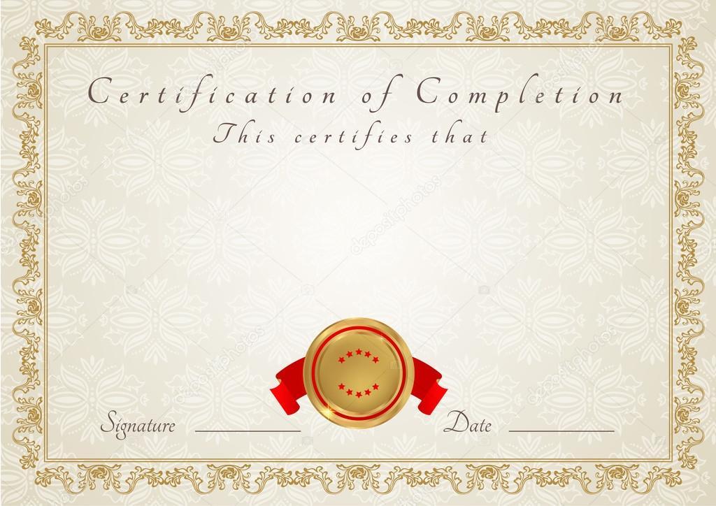 Blank Certificate Border Templates Horizontal certificate of