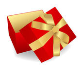 Isolated opened Red Gift Box with golden ribbon (Present) — Stock Vector