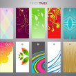 Colorful price tag with abstract and floral backgrounds — Imagen vectorial