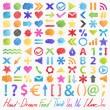 Vector set: hand-drawn symbols. Colorful design elements — Stock Vector