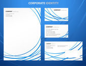 Business style template with blue abstract lines — Stockvektor