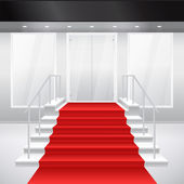 Entry to shop with stairs, windows and red carpet — Stock Vector