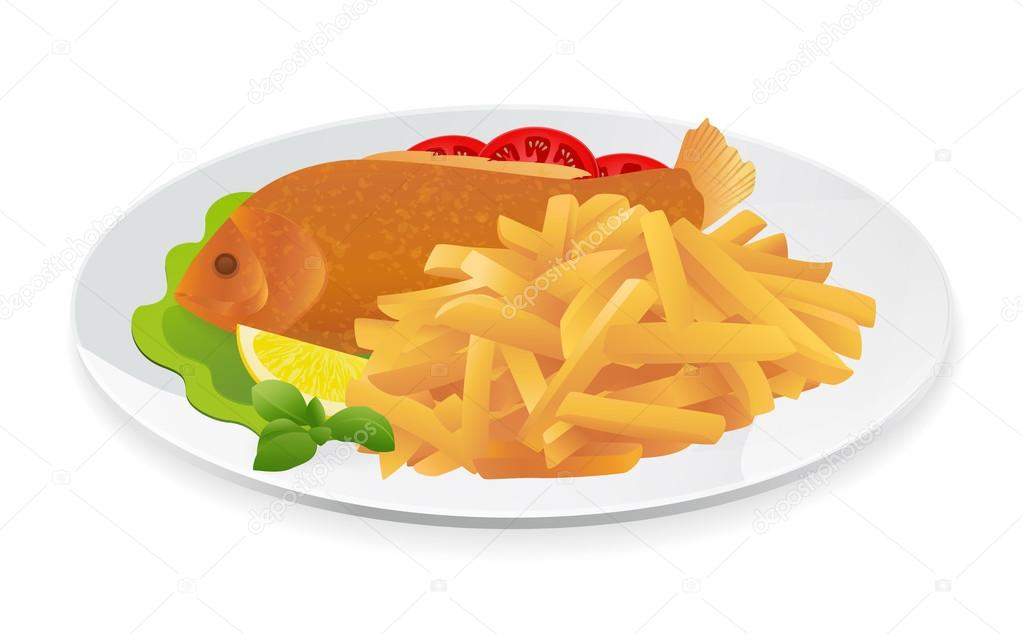 Fried fish dinner clipart