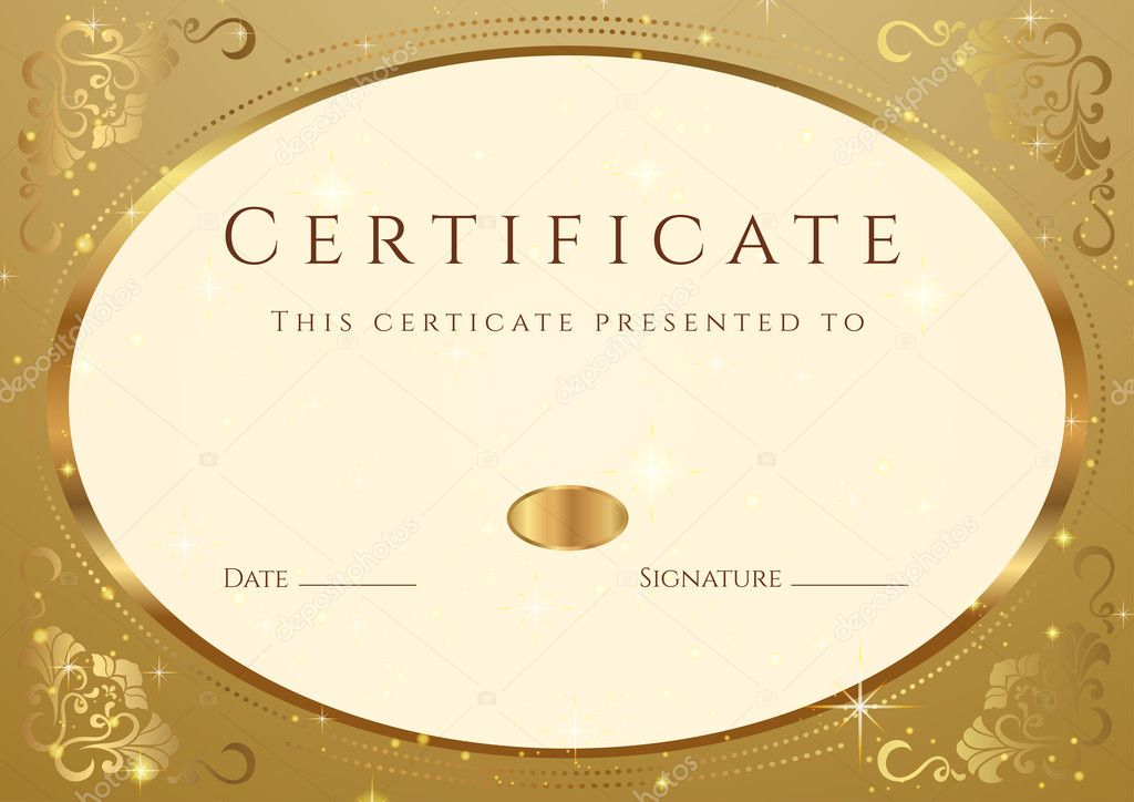 Horizontal golden certificate (diploma) of completion (template) with ...