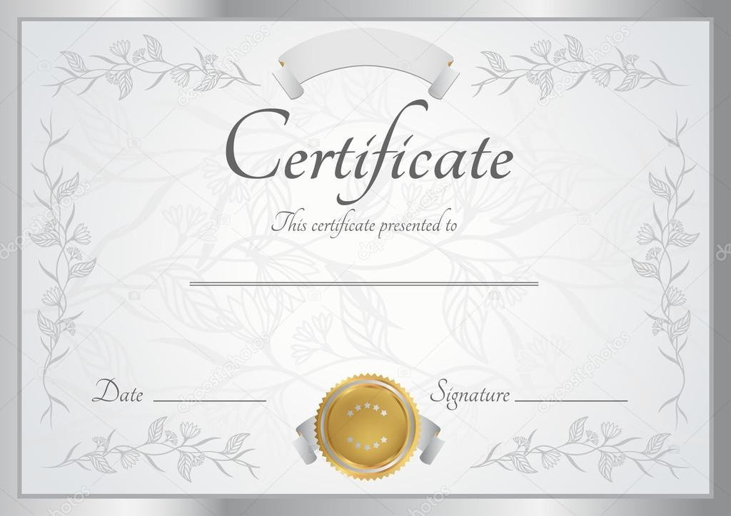 Horizontal silver certificate diploma of completion template – Formal Certificate Template