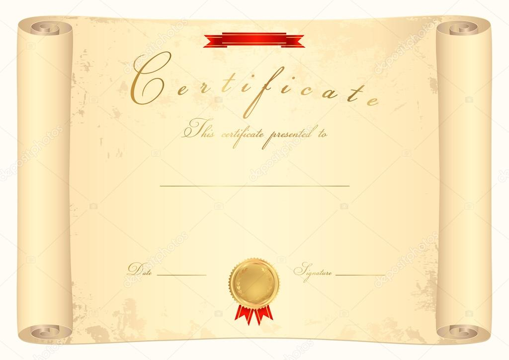 Scroll certificate (diploma) of completion (template ...