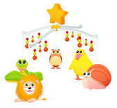 Isolated Musical toy with animals for cot — Stock Vector