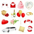 Set: wedding icons. Day for love and lovers - Stok Vektör