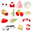 Set: wedding icons. Day for love and lovers - Stockvectorbeeld