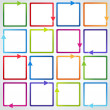 Conceptual vector illustration of colorful cubes with arrows — Stock Vector
