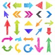 Set: colorful hand-drawn arrows(isolated icons). Vector — Stock Vector