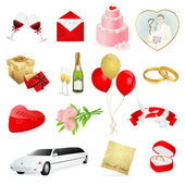 Set: wedding icons. Day for love and lovers — Cтоковый вектор