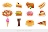 Vector set: Isolated Fast food (Junk food). — Stock Vector