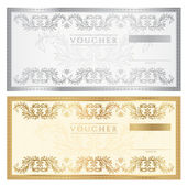 Voucher template with floral pattern, watermark and border. Background design for gift voucher, coupon, banknote, certificate, diploma, currency, check (cheque). Vector in golden and silver colors — Stock Vector