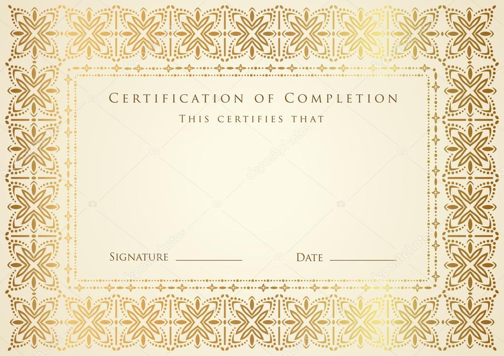 Horizontal certificate (diploma) of completion (template ...