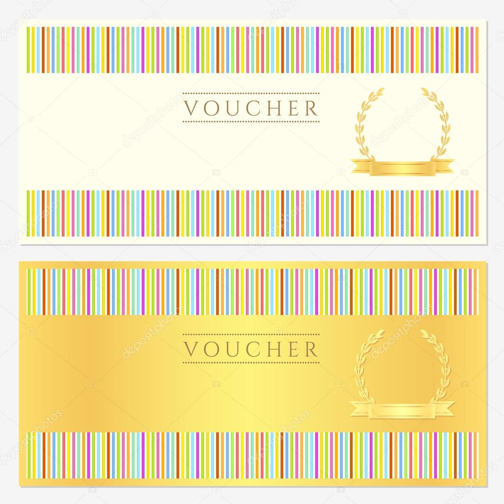Golden Voucher Template With Colorful Stripy Pattern And
