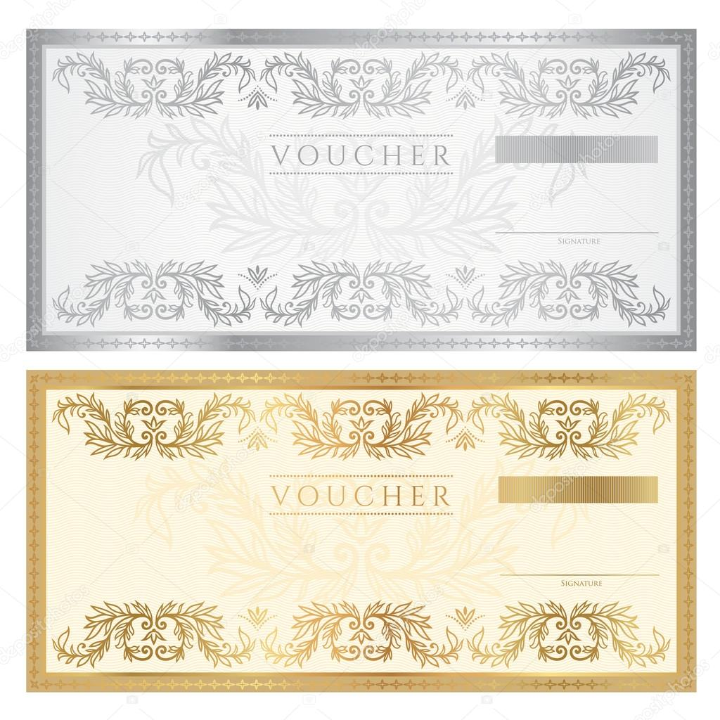 Voucher template with floral pattern, watermark and border. Background ...