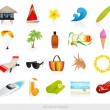 Stock Vector: Vector set: Isolated Beach icons. Summer stuff for vacation (holidays) on a coast