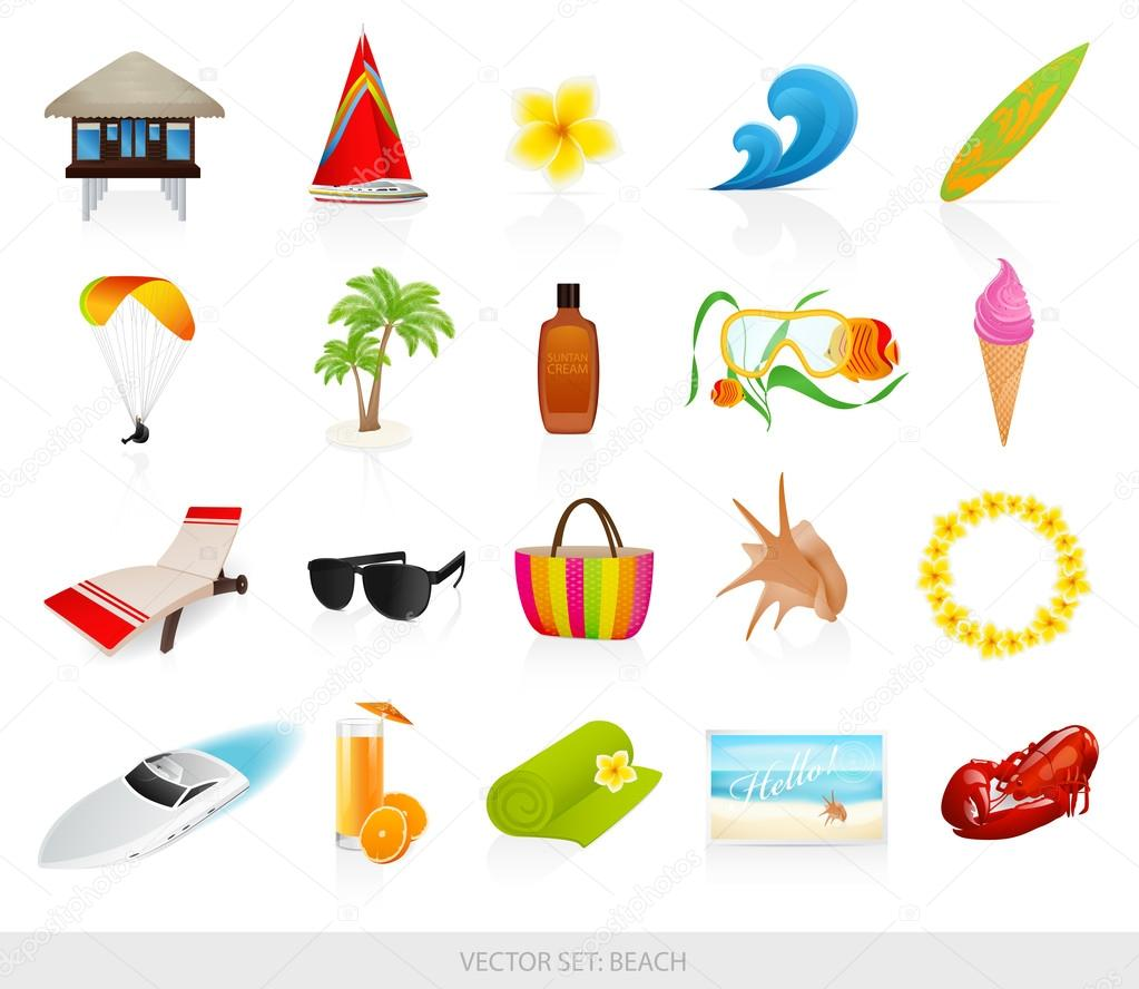 Vector set: Isolated Beach icons. Summer stuff for vacation (holidays ...