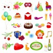 Vector de stock : Big colorful vector set: Holidays. Isolated detailed vector illustrations for different holidays