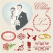 Vector set: Wedding icons (symbols). Decoration for celebration. Decorative elements in vintage colors - Stok Vektör