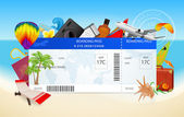 Travel by plane (airplane, aircraft). Conceptual flight vector design of boarding pass (ticket, traveler check). Summer vacation concept with sea (seascape), ocean, send (flight idea). Beach holidays — Stock Vector