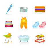 Vector set: Baby icons (newborn). Isolated on white background baby stuff — Stock Vector