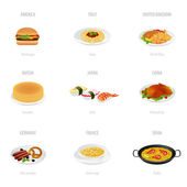 Vector set: Traditional cuisine. Isolated main course of different countries — Stock Vector