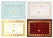 Set of Horizontal certificate (diploma) of completion (template) with golden floral pattern and border — Stok Vektör