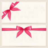 Gift Voucher (coupon, invitation or card) template with floral pattern, border and Gift red bow (ribbons) — Stock Vector