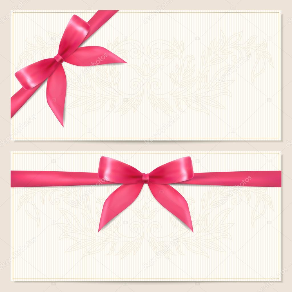 or card) template with floral pattern, border and Gift red bow ...