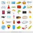 Royalty-Free Stock Vector Image: Big vector set: travel (icons). Isolated Beach symbols (objects) for vacation (holidays). Enjoy the journey