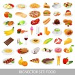Big vector set: Isolated  food icons (delicious dishes). Healthy food , junk food , seafood, fast food, drinks — Stock Vector