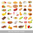 Big vector set: food icons (various delicious dishes). Traditional cuisine. Main course of different countries. Healthy food , junk food , seafood, fast food, drinks. Isolated detailed meals illustrations on white background