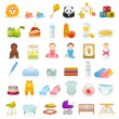 Big Vector set: Isolated Baby icons (newborn). Vector detailed illustrations — Vector de stock  #19754565