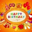 Royalty-Free Stock Vector Image: Birthday card with set of birthday elements - icons. Conceptual vector illustration on orange background with stars