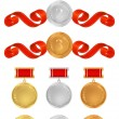 Vector set: Awards. Golden medals with red ribbons (sign of winner). Vector badge of First, Second, Third place — Vettoriale Stock