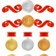 Vector set: Awards. Golden medals with red ribbons (sign of winner). Vector badge of First, Second, Third place — Vecteur