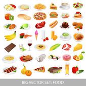 Big vector set: Isolated food icons (delicious dishes). Healthy food , junk food , seafood, fast food, drinks — Vettoriale Stock