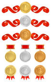 Vector set: Awards. Golden medals with red ribbons (sign of winner). Vector badge of First, Second, Third place — Stock Vector