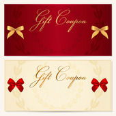 Gift Voucher (coupon, invitation or card) template with floral pattern, border and red and gold bow (ribbons). Corrugated background — Vecteur