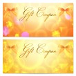 Gift coupon (voucher, invitation or card) template with abstract stars pattern and bow (ribbons). Vector layout in golden (yellow) and orange colors — Stock Vector #19984471