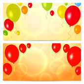 Bright Gift coupon (voucher, invitation or card) template with colorful balloons background — Stock Vector