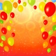Bright Greeting Card (invitation) template with colorful balloons background — Stockvektor
