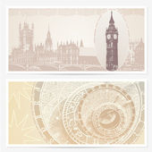 Gift Voucher (coupon) template with guilloche pattern (watermarks) and landmarks. Backgrounds with Big Ben and (London, Great Britain) and Astronomical Clock (Prague, Czech) — Stock Vector